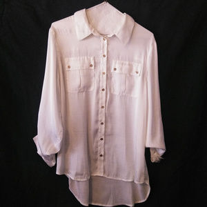Chaus Medium White Shirt Gold Button